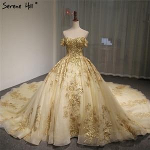 Image 1 - Dubaj wysokiej klasy krótkie rękawy luksusowa suknia ślubna w stylu Vintage Sexy Off ramię złota frezowanie cekinami panna młoda suknia 2020