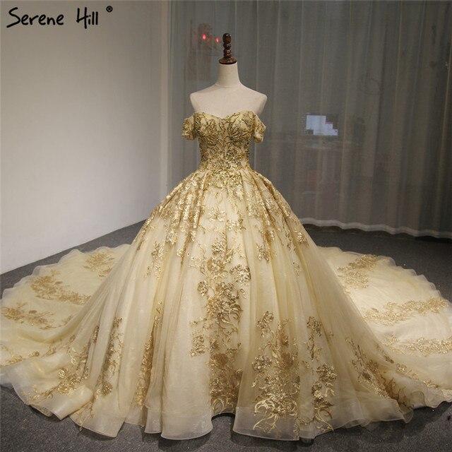Dubaj wysokiej klasy krótkie rękawy luksusowa suknia ślubna w stylu Vintage Sexy Off ramię złota frezowanie cekinami panna młoda suknia 2020