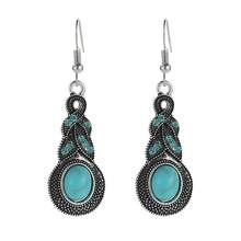 Luxury Bohemian Green Stone Earring Punk Drop Dangle Hook Earrings boucle d'oreille Fashion Jewelry(China)