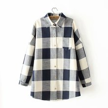 2018 Checkered Shirt Plus Size XXL-4XL Woman Cotton Casual Shirts Outerwear Plaid Thick Liner Autumn Winter Shirt