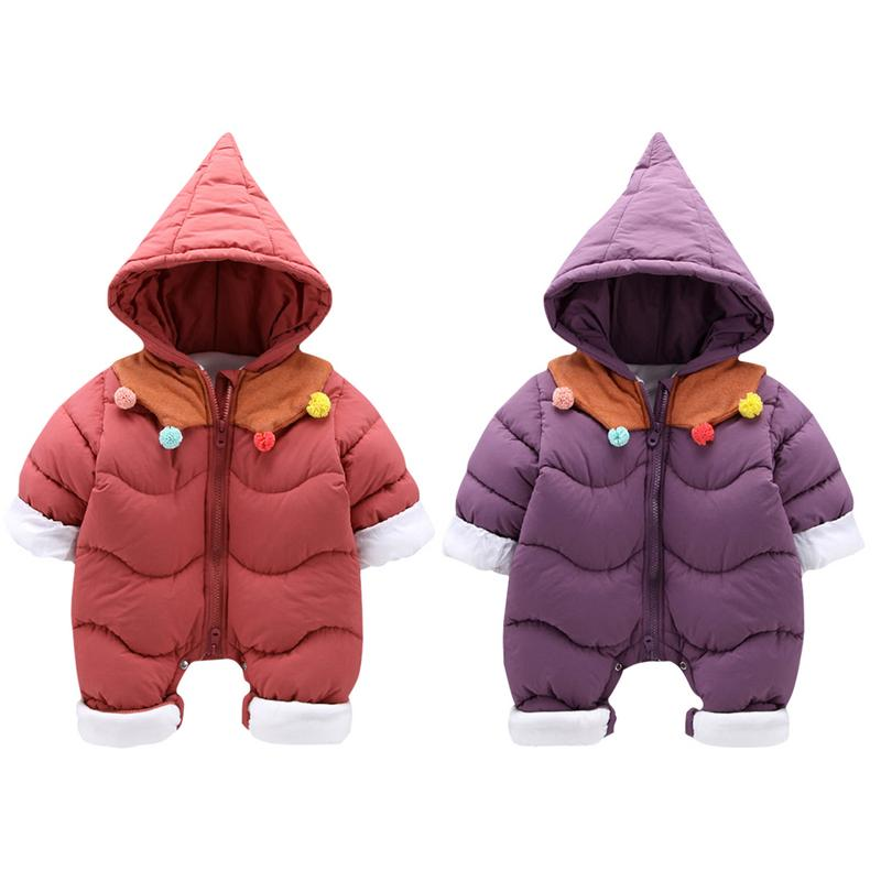 7813e9cda Winter Warm Baby Fleece Overalls Newborn Snowsuit 0-3 Years Baby Romper  Jumpsuit Boys Girls Outwear Cotton Coat Christmas Gift