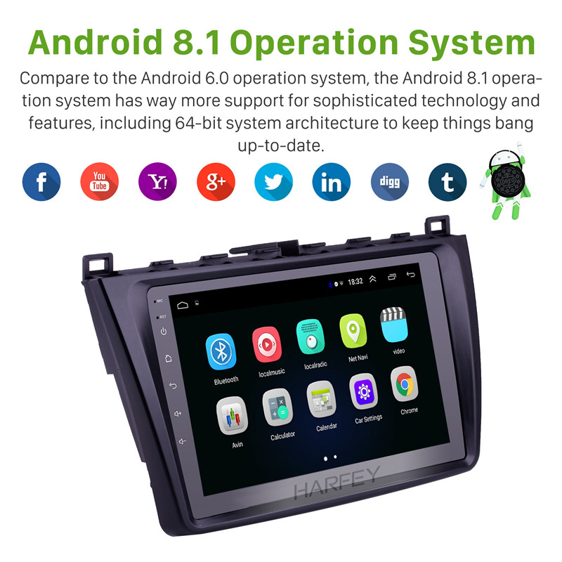 Harfey High Version Car Android 8.1 <font><b>GPS</b></font> 9'' 2DIN Radio For <font><b>Mazda</b></font> <font><b>6</b></font> Rui wing 2008 2009-2014 Multimedia Player support Rear Camera image