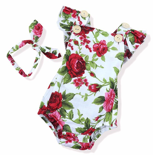 a49d5e31a Oklady Newborn Kids Baby Girls Clothes Floral Jumpsuit Romper Playsuit + Headband  Outfits
