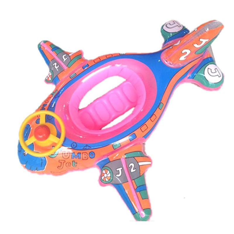 Cute Baby Swimming Ring Pool Seat Water Swimming Boat With Steering Wheel Thickened Swimming Playing Water Seat Color Random