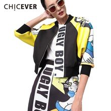 [CHICEVER] 2017 Spring Women Cartoon Letter Air layer jacket Female Baseball Stand Collar Tops Sleeveless Coats Clothes Fashion(China)