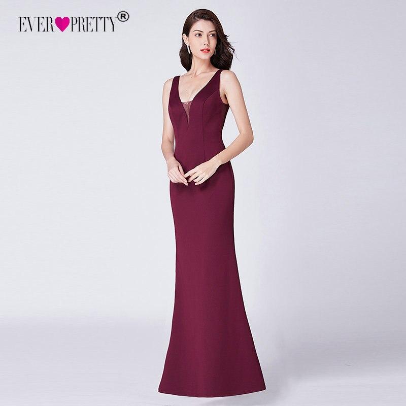 Vestido de festa вечерние платья 2019 Ever Pretty EP07482BD элегантный v-образный вырез бордовый Русалка без рукавов сексуальные длинные вечерние платья