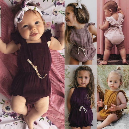 Newborn Baby Girl Boys Ruffles Backless Bow   Romper   Sunsuit Jumpsuit Toddler Kids Princess Cotton Summer   Rompers   Overalls Clothes