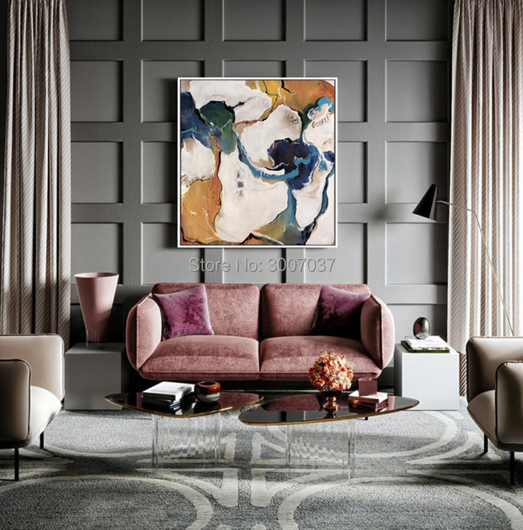 New Arrivals Hand painted Contemporary Wall Art Golden Abstract Oil Painting on Canvas Interior Design Art Golden Oil Painting in Painting Calligraphy from Home Garden