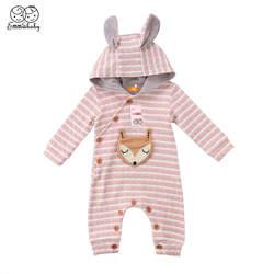 Детские толстовки с капюшоном с 3D ушками, комбинезоны для новорожденных мальчиков и девочек, с рисунком лисы, в полоску, с капюшоном, один