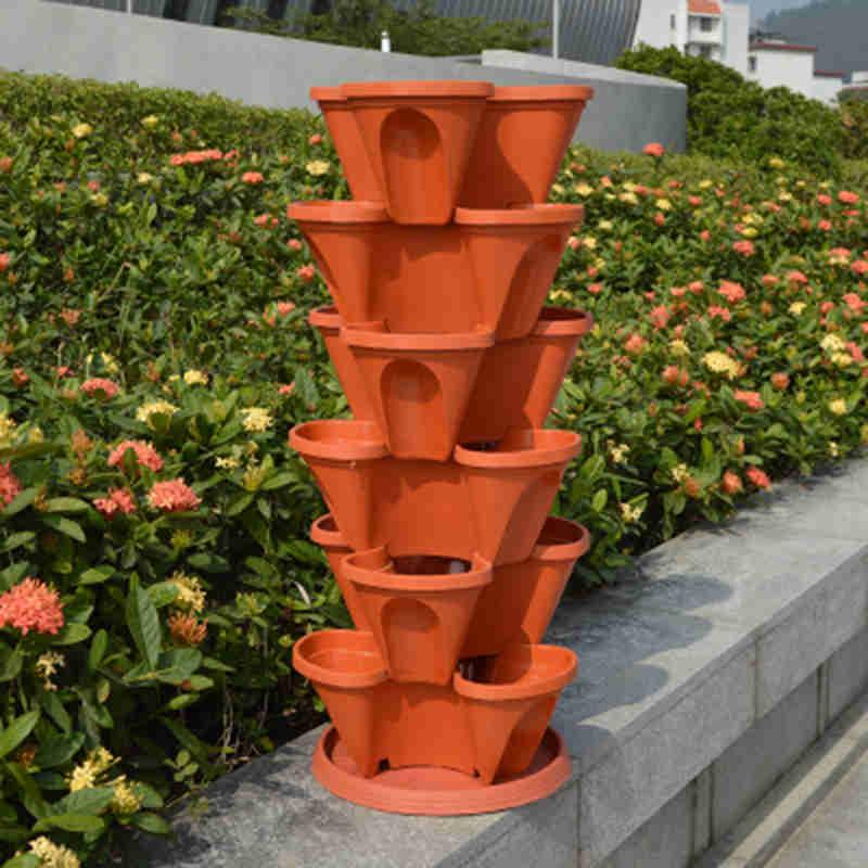 Dimensional Three-petal Flower Pot Strawberry Basin Multi-layer Superimposed Cultivation Pot Vegetable Melon Fruit Planting Pot