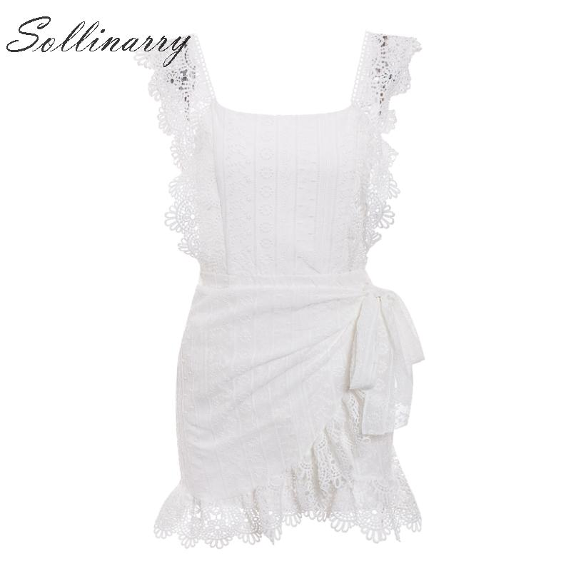 Image 5 - Sollinarry Embroidery Hollow out Lace Summer Dresses 2019 Women Sexy Elegant Wrap Short Dress Backless Party Mini Dress Vestidos-in Dresses from Women's Clothing