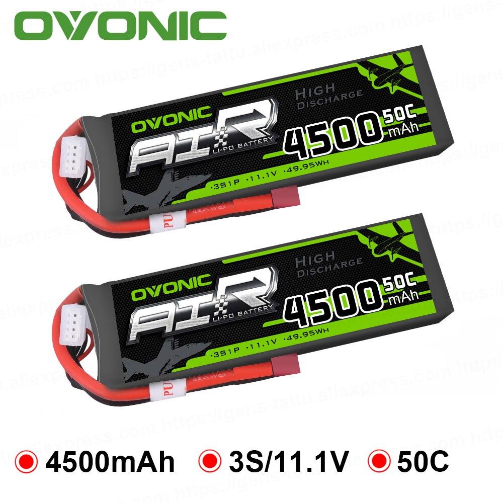 2X Ovonic 11.1 V 4500 mAh 50C-100C 3 S LiPo batterie avec prise en T XT60 pour voiture RC hélicoptère Quad Drone passe-temps bricolage RC pièces