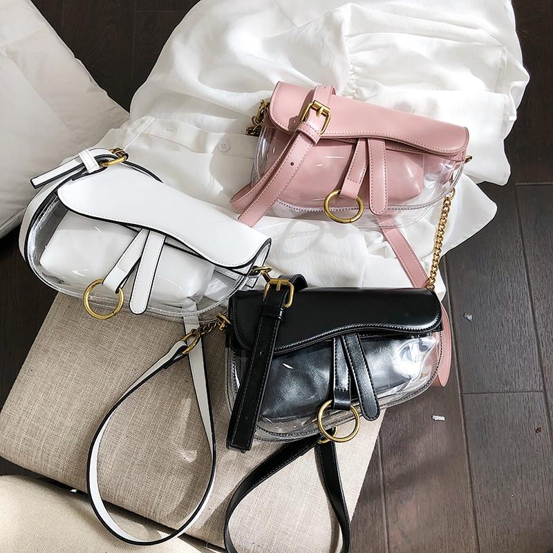 2 Sets Women Bags Leather Transparent Handbag Crossbody Bags For Lady Candy Color Totes Compound Shoulder Messenger Bag