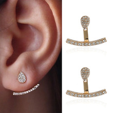 Fashion Concise Rhinestone Stud Earrings For Wedding Gold Alloy A Line Shape Crystal Paved Water Drop Ear Jewelry Gifts