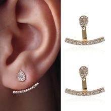 купить Fashion Concise Rhinestone Stud Earrings For Wedding Gold Alloy A Line Shape Earrings Crystal Paved Water Drop Ear Jewelry Gifts дешево