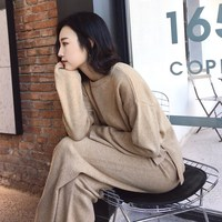 Autumn Warm Woolen and Cashmere Sweater Suit Loose Sweater Wide Leg Pants Suits Two Piece Set Knit Set
