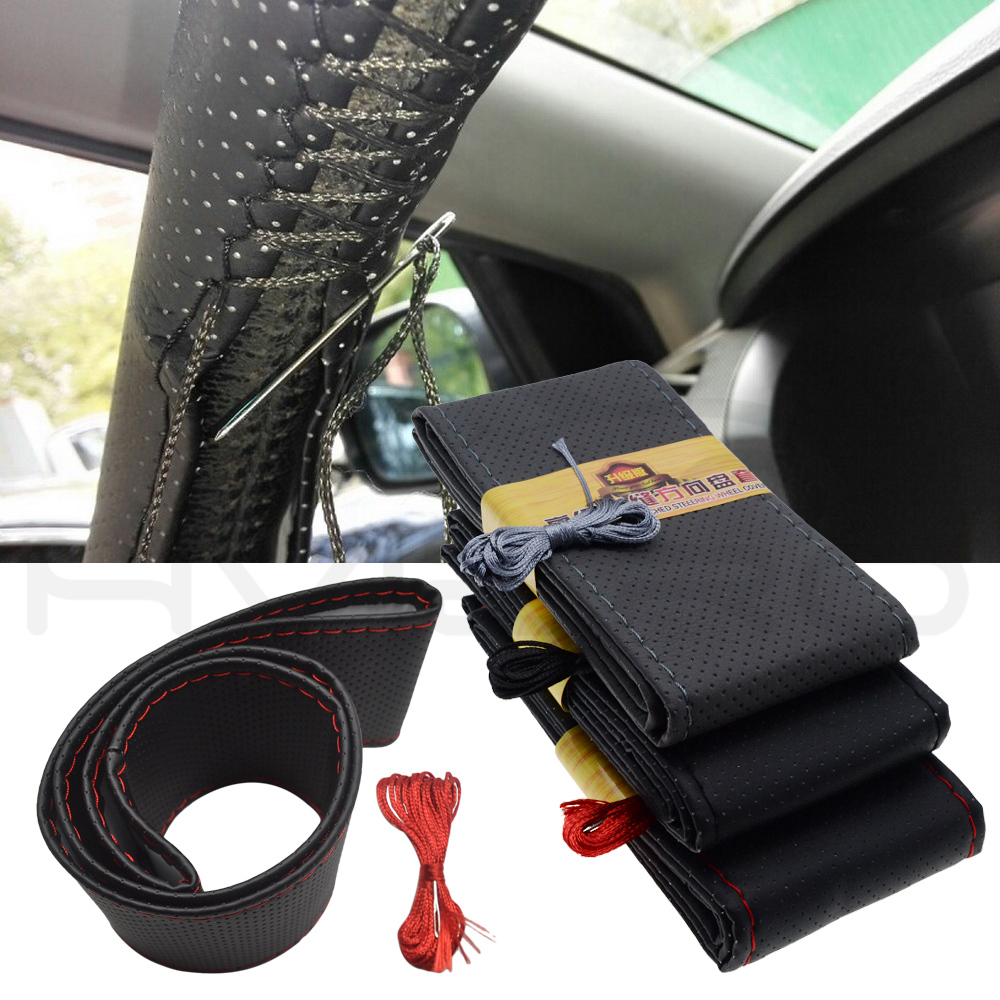 Car Styling DIY Steering Wheel Covers Extremely Soft Leather Braid on Steering-wheel Car Needle Thread 38cm Interior Accessories
