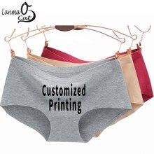 c4c596a4c9 Lanmaocat Cotton Seamless Underwear Women Custom Printing Seamless Briefs  Panties For Women DIY Print Plus Size. 11 Colors Available