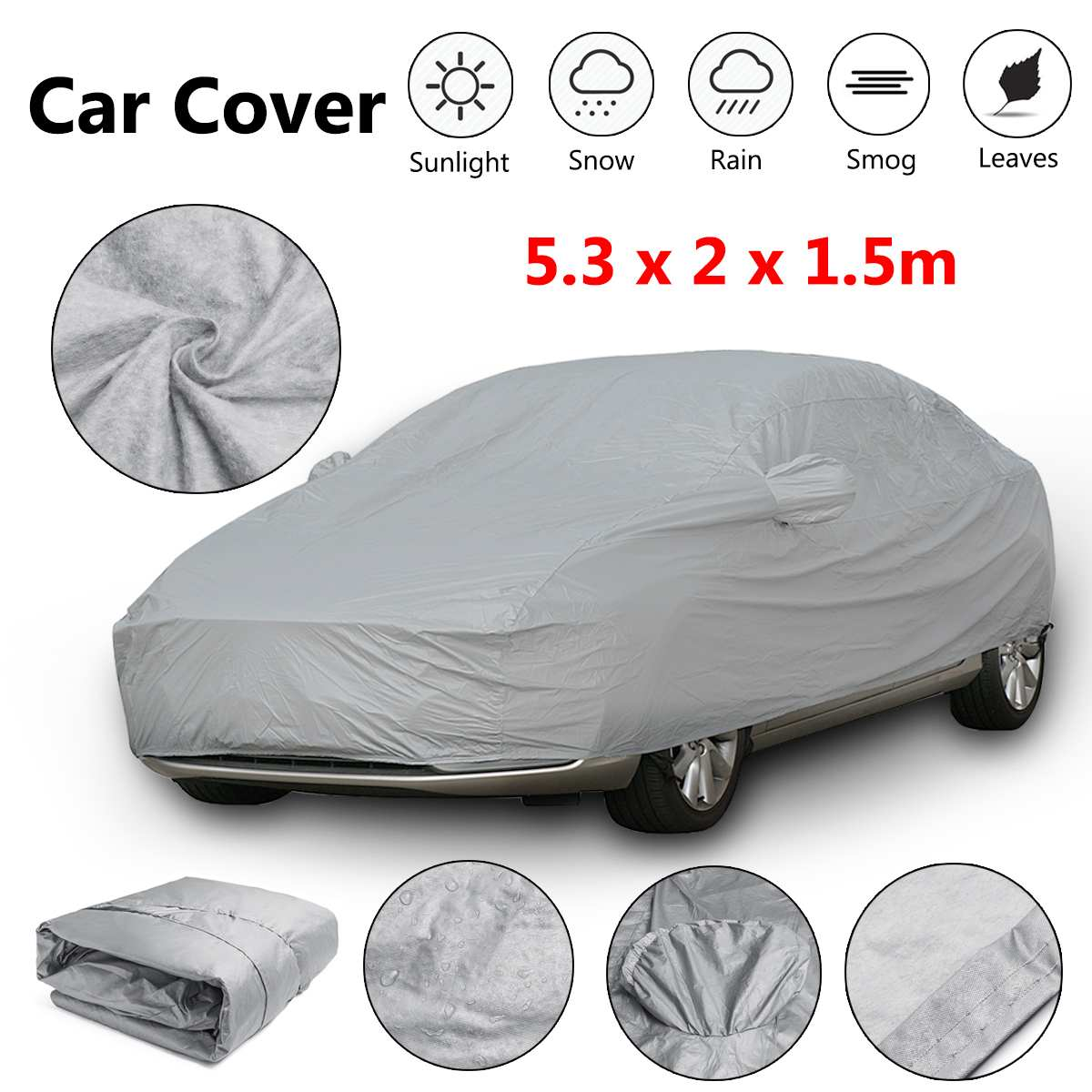 Universal XXL Full Car Cover Cotton Waterproof Breathable Rain Snow Protection