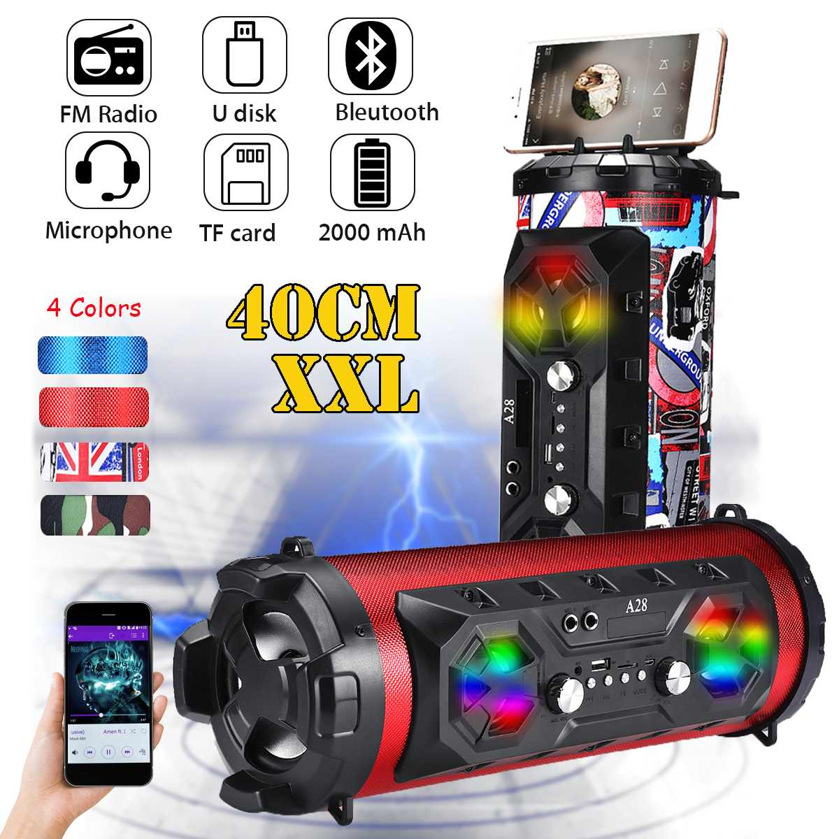 20W Outdoor bluetooth 4.2 Speaker Move KTV 3D Sound System Sound Bar Subwoofer 2000mAh Portable Column Speaker FM USB AUX TF20W Outdoor bluetooth 4.2 Speaker Move KTV 3D Sound System Sound Bar Subwoofer 2000mAh Portable Column Speaker FM USB AUX TF