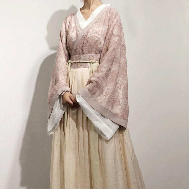 Tang Dynasty Hanfu Dress Costume Chinese Traditional Clothes Cosplay Adult Women Fancy Han Fu Halloween Carnival Girl Pink White
