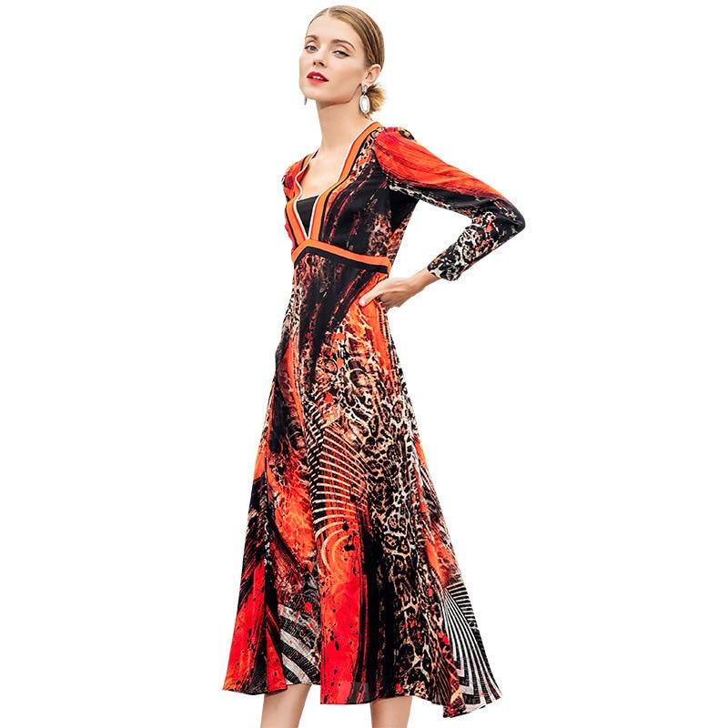 Printemps 2019 dames robe nouveau 100% Mulberry Longuette Will pendule imprimé léopard à manches longues vraie robe en soie femme