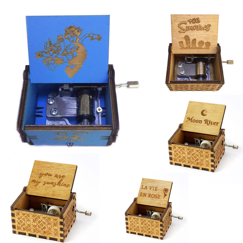 Us 445 42 Offnew Wholesale Antique Carved Wooden Hand Crank Digimon Music Box Christmas Gift Birthday Gift Party Casket Anonymity Decoration In