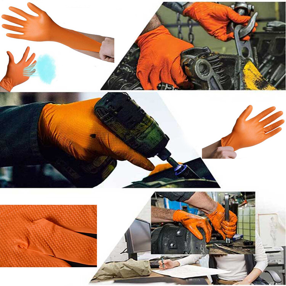 Image 5 - 100pcs Disposable Gloves Thick Rubber Oil Acid Resistant Nitrile Rubber Gloves For Home Food Laboratory Cleaning Use-in Safety Gloves from Security & Protection
