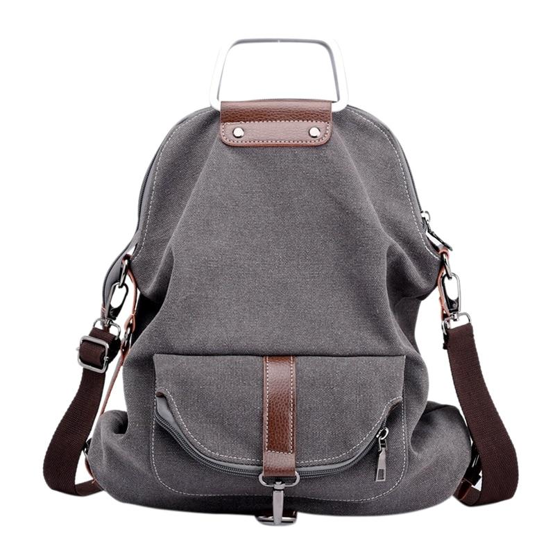 Vintage Canvas Backpack For Women School College Travel Laptop Portable Rucksack