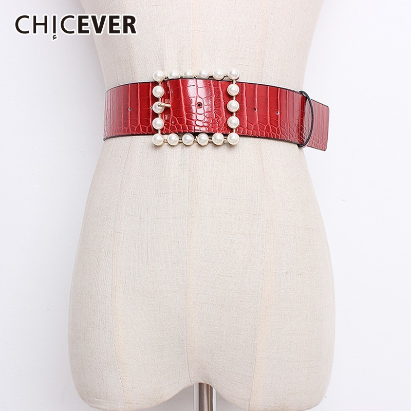 CHICEVER Autumn Vintage Pearls Square Buckle Female Belt For Women Fashion Elegant Red PU Leather Belt Stylish Style New 2018