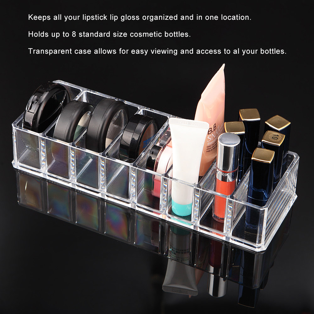 8 Grids Storage Make up Box accessories Clear Acrylic Transparent Lipstick Lip G
