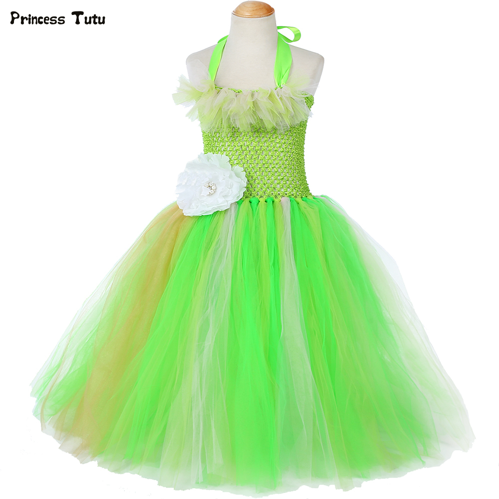 Princess and The Frog Tiana Tutu Dress Green Flower Girl Birthday Party Dress Kids Tutu Dresses for Girls Halloween Costume 1-14 handmade girls tutu dress flower girl dresses halloween costume children kids tulle dress for pageant party prom photo vestidos