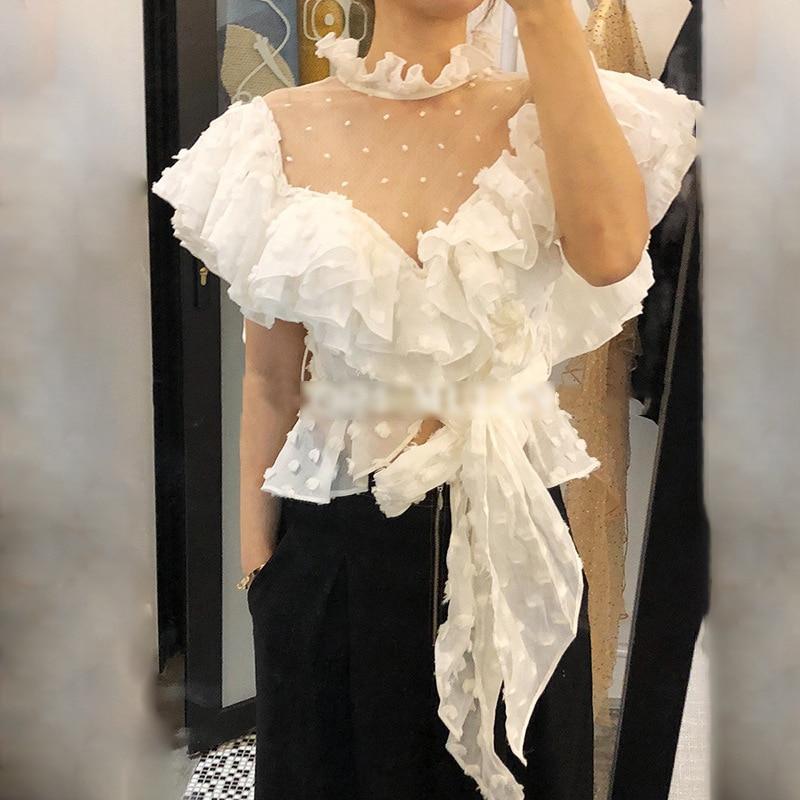 Chemises Col Femme Perspective Mode Polka Black Blouses Tops Stand Manches Papillon Blouses Chicever De Femmes Blouses Coréenne Dot Blanc red white Vêtements gIwOqA8
