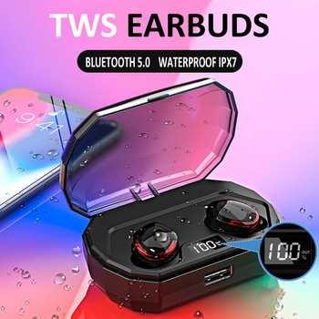 TWS Wireless Earphones bluetooth Waterproof IPX7 Sports Earbuds Cordless Headphones with Charging Box Dual Microphones