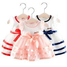 2019 Summer Infant children Baby Girls Dresses clothes Fly Sleeve Stripe Bow Dress Clothes Dresses princess dress girl costume цена в Москве и Питере