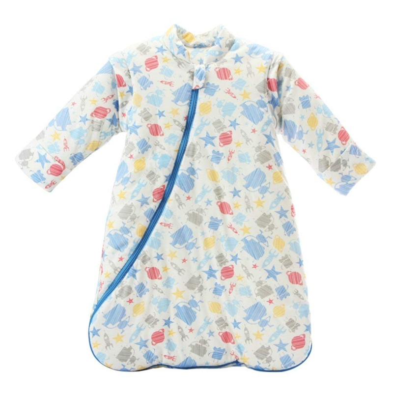 Unisex Baby Sleepsack Wearable Blanket Cotton Sleeping Bag Long Sleeve Nest Nightgowns Thickened Winter Robot/3.5 Tog