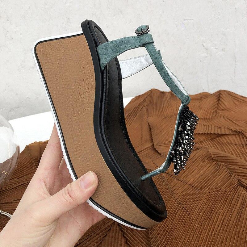2019 mode interrupteur orteil plate-forme femme chaussures en cristal embelli gladiateur sandales décontractées avec des cales de couleur mélangée
