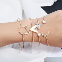 Silikolove 4pcs/set Minimalist Female Personality Letter Bangles Animal Bracelets Handmade Bracelet Love