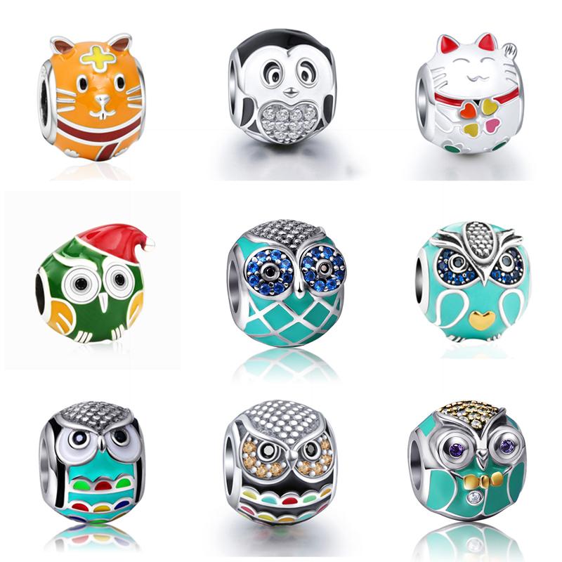 315b588ff13f Fit Pandora silver charms 925 pulseras originales búho hámster gato  pingüino cuentas con esmalte ...
