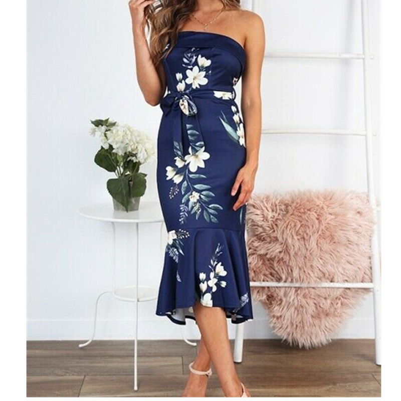 Fashion Elegant Women <font><b>Floral</b></font> Bodycon <font><b>Dress</b></font> <font><b>Sexy</b></font> <font><b>Ladies</b></font> Off Shoulder Summer Cocktail Party Casual Beach Sundress image