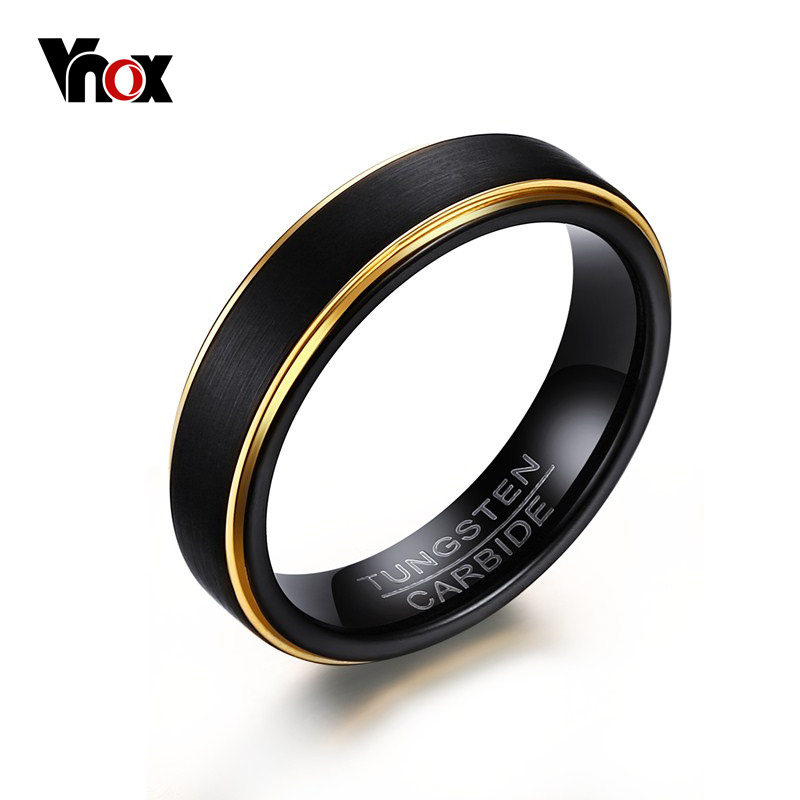 Vnox Black Tungsten Rings for Men 5MM Thin Gold-color Wedding Rings for Male Jewelry