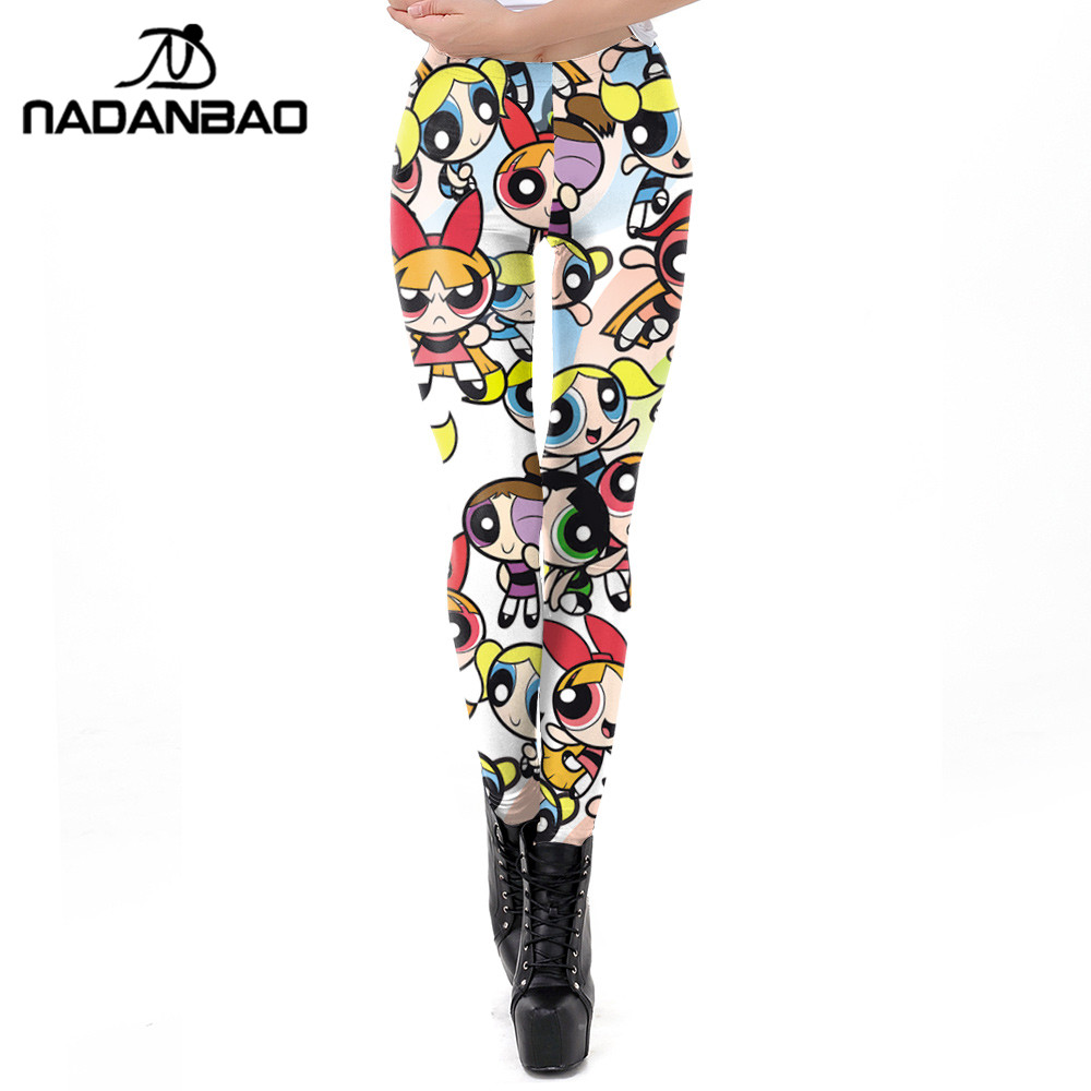 NADANBAO Cartoon Powerpuff Girls Women   Leggings   3D Printed Fitness   Legging   Workout Elasticity Leggin Puls Size
