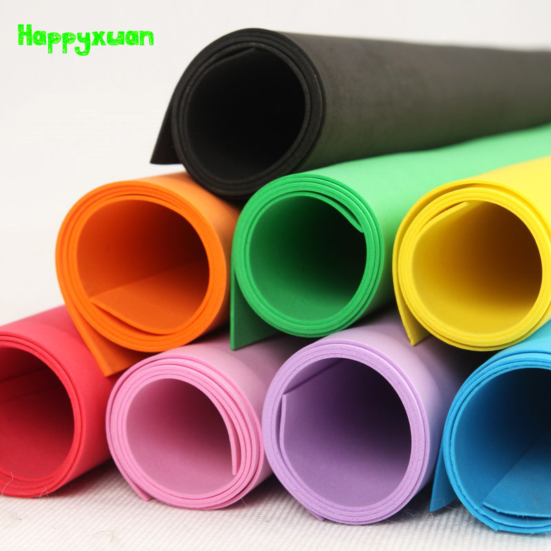 Happyxuan 5 Pcs/lot 49*47cm 2mm EVA Foam Sheet Cosplay White Black Green Color Sponge Paper DIY Handcraft Materials Colorful
