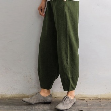 Plus Size Women Elastic Waist Trousers Solid High Loose Spring Pants Casual Vintage Harem