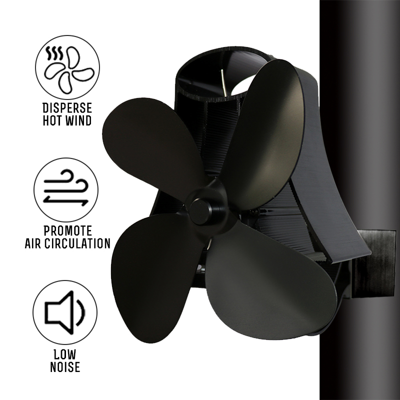 Home 4 Blade Wall Hanging Heat Powered Stove Fan Log Wood Burner Eco Kindly Quiet Fireplace