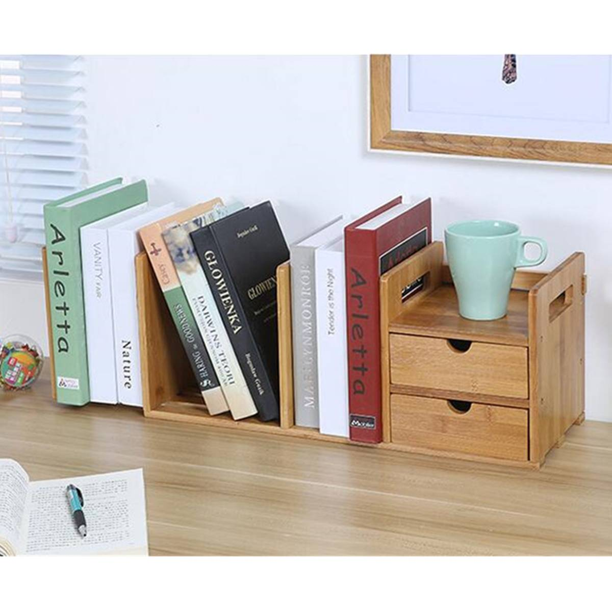 Luxury Bamboo Desktop Bookshelf Desk Organizer Extendable Storage With 2 Drawers Office School Book Holder Large Storage box cute cat pen holders multifunctional storage wooden cosmetic storage box memo box penholder gift office organizer school supplie