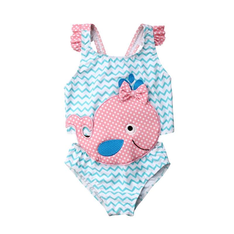 2019 Kids Swimwear Baby Girl Swimsuit Bowknot One-Piece Goldfish Jumpsuit Bathing Suit Summer Toddler Children Beachwear(China)
