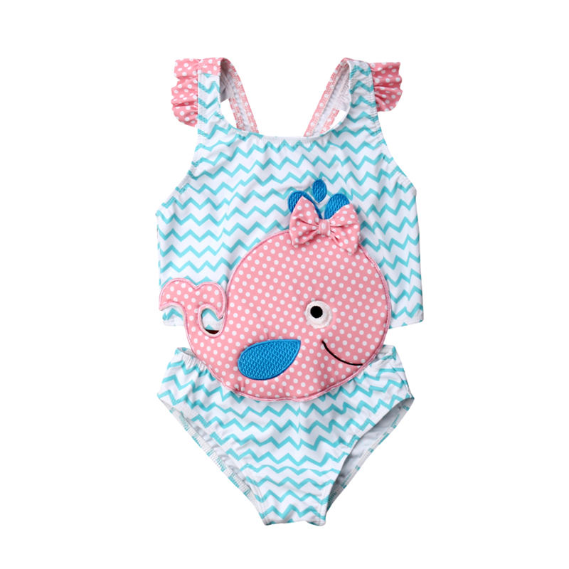 Swimsuit Bowknot Beachwear Toddler Baby-Girl One-Piece Children Summer Goldfish title=