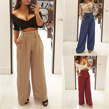 2019 Summer New Style Fashion Women's OL Office Loose Stretch High Waist Wide Leg Long Pants Palazzo Trousers