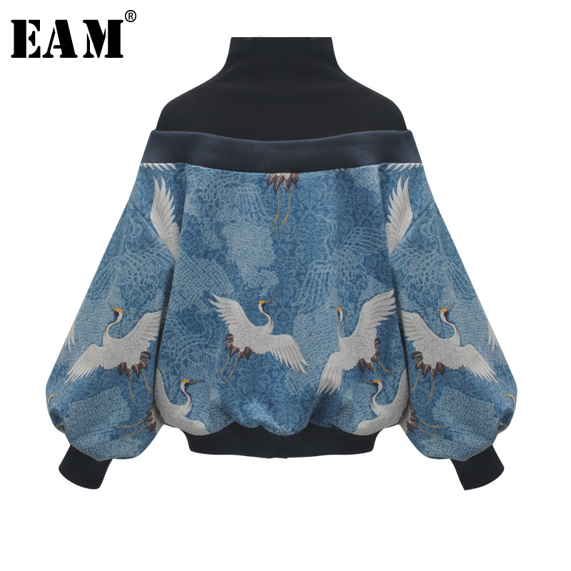 [EAM] 2019 New Spring High Collar Long Sleeve Pattern Printed Loose Big Size Personality Sweatshirt Women Fashion Tide JL948